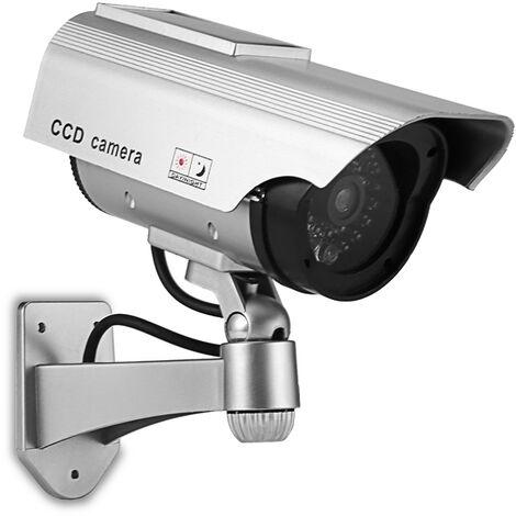 Camaras de seguridad falsas camara simulada de la camara simulada de vigilancia con la luz que destella de interior uso al aire libre para el hogar de negocios Advertencia de seguridad, de plata