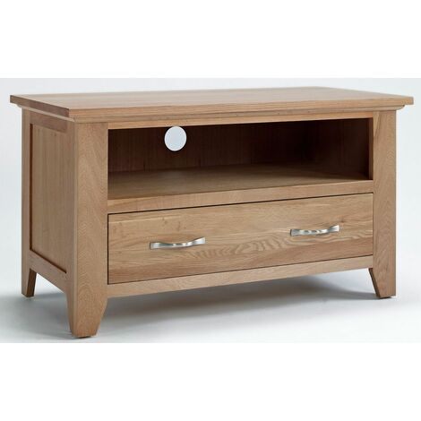 """Camberley Oak 1 Drawer TV Cabinet Unit in Light Oak Finish 90cm   Wooden Television Unit Including 1 shelf for Consoles or DVD Players   Solid Wood Entertainment Stand up to 38"""" screen size"""