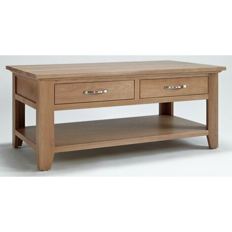 Camberley Oak 4 Drawer Large Coffee Table with Light Oak Finish   Solid Wooden Rectangular Shaped Lounge Storage