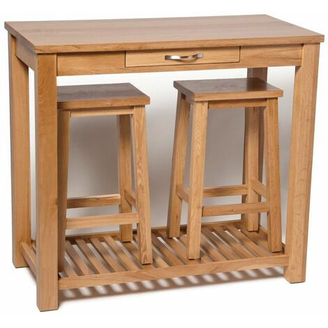 """main image of """"Camberley Oak Breakfast Bar Table in Light Oak Finish with Two Stools 