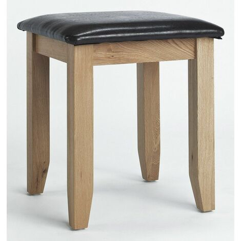 Camberley Oak Dressing Table Stool with Padded Seat in Light Oak Finish | Solid Wood Bedroom Stool