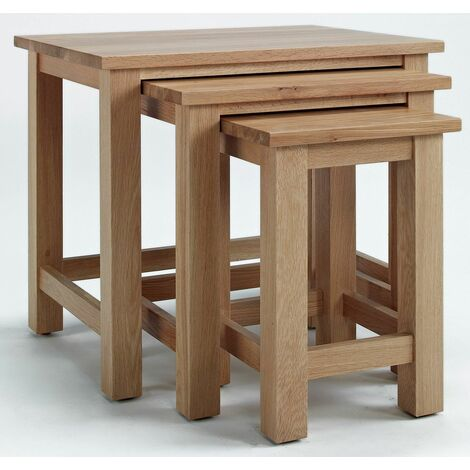 Camberley Oak Nest of 3 Tables with Light Oak Finish   Solid Oak Occasional Coffee Table set   Wooden Side / End / Lamp Nesting Set