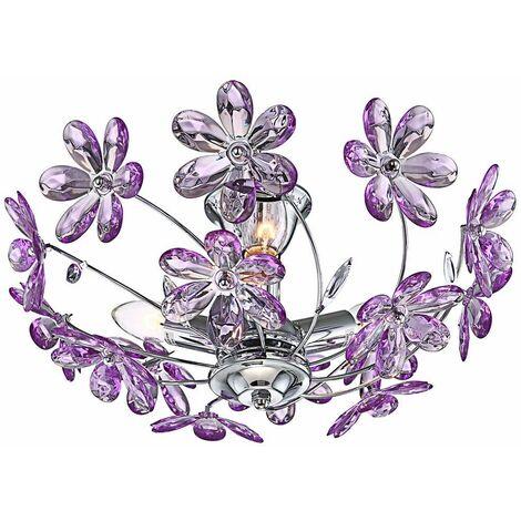 cambiador de color de la luz de techo 10,5W LED RGB remoto flores púrpura acrílico Dimmer