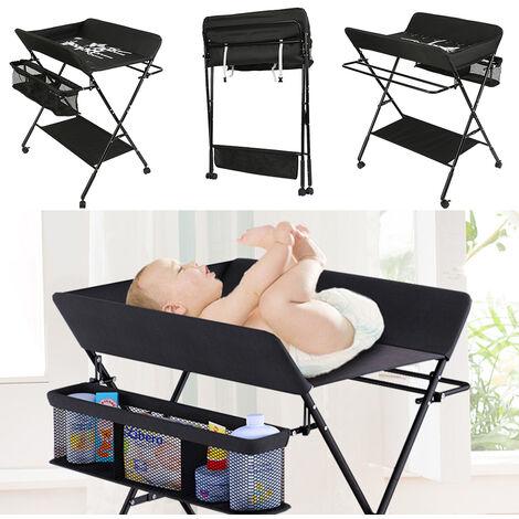 Cambiar el pañal mesa plegable mesa de vestir bebé con Bolsa de Almacenamiento Cambiador Negro