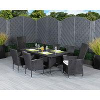 Cambridge 2 Reclining + 4 Non-Reclining Rattan Garden Chairs and Small Rectangular Table Set (various colours)