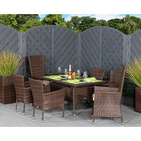 Cambridge 2 Reclining + 4 Non-Reclining Rattan Garden Chairs and Small Rectangular Table Set (various colours)