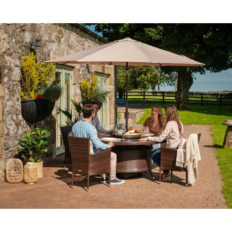 Cambridge 4 Rattan Garden Chairs and Large Round Table Set (various colours)