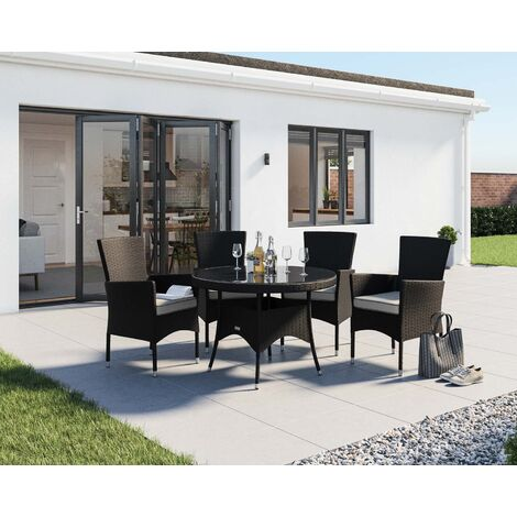 Outdoor Dining Set Round Table.Cambridge 4 Rattan Garden Chairs And Small Round Table Set Various Colours