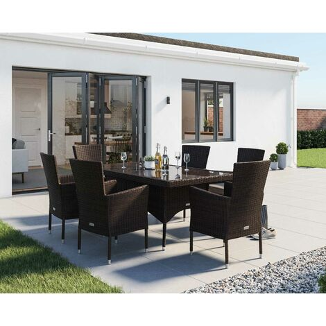 """main image of """"Cambridge 6 Rattan Garden Chairs and Small Rectangular Dining Table Set in Chocolate and Cream"""""""