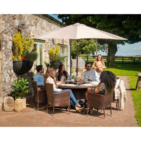 Cambridge 8 Rattan Garden Chairs and Large Round Table Set (various colours)