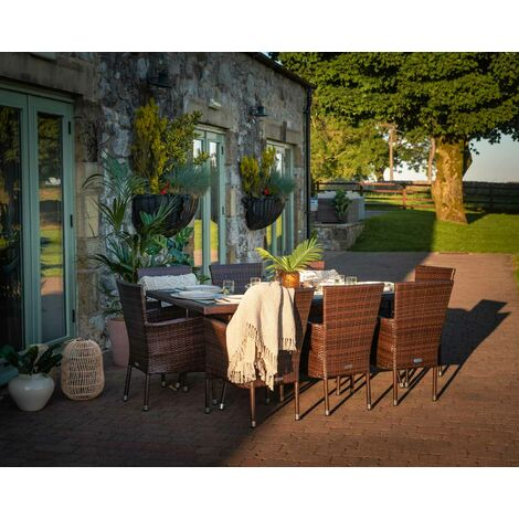 Cambridge 8 Rattan Garden Chairs and Rectangular Table Set (various colours)