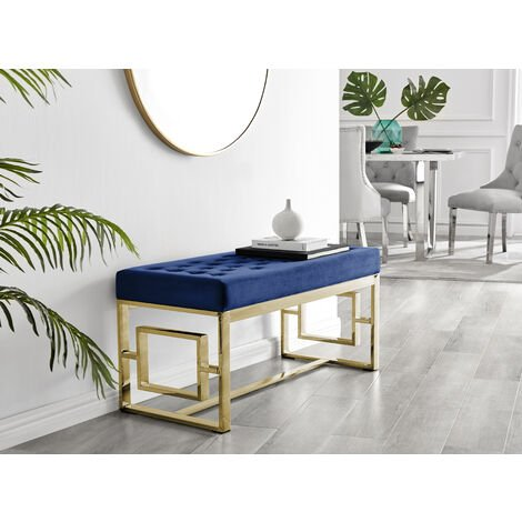 Cambridge Modern Gold Metal & Blue Velvet Upholstered Luxury Bench