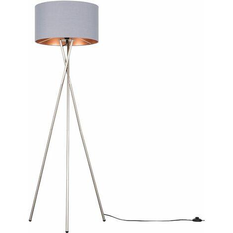 Camden Brushed Chrome Tripod Floor Lamp + LED Bulb