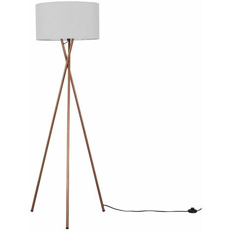 Camden Copper Tripod Floor Lamp + LED Bulb - Grey & Copper
