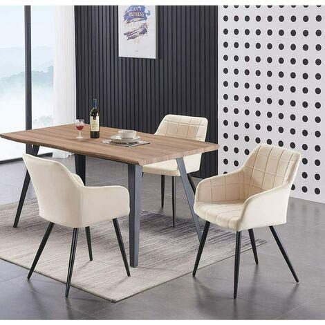 Camden Duke Lux Dining Set (OAK TABLE & CREAM)