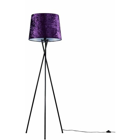 Camden Tripod Floor Lamp in Black with Aspen Shade - Purple