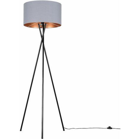 Camden Tripod Floor Lamp in Black with Reni Shade - Grey & Chrome