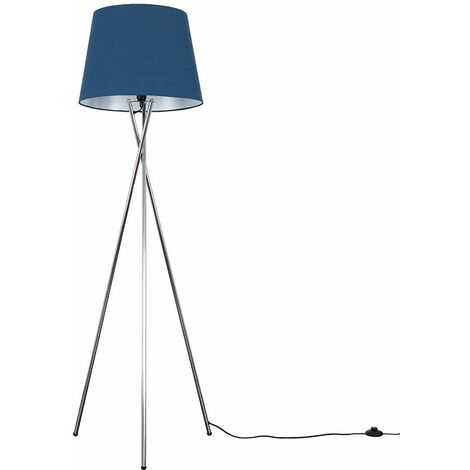 Camden Tripod Floor Lamp In Brushed Chrome with Aspen Shade + 6W LED GLS Bulb - Purple