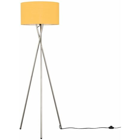 Camden Tripod Floor Lamp in Brushed Chrome with Reni Shade + 6W LED GLS Bulb - Yes