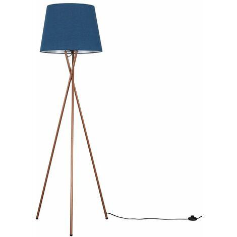 Camden Tripod Floor Lamp In Chrome with Aspen Shade - Purple