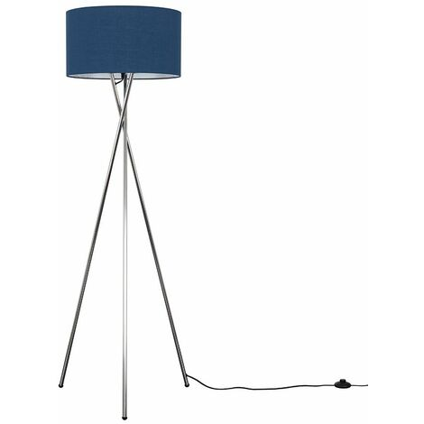 Camden Tripod Floor Lamp in Chrome with Reni Shade + 6W LED GLS Bulb - Black