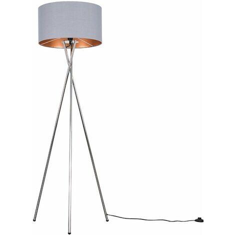 Camden Tripod Floor Lamp in Chrome with Reni Shade + 6W LED GLS Bulb - Black