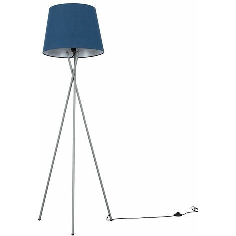 Camden Tripod Floor Lamp in Grey with Aspen Shade + 6W LED GLS Bulb - Blue