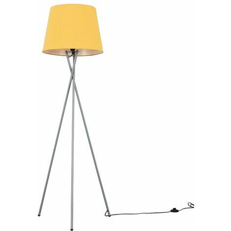 Camden Tripod Floor Lamp in Grey with Aspen Shade + 6W LED GLS Bulb - Blue