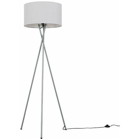 Camden Tripod Floor Lamp in Grey with Reni Shade + 6W LED GLS Bulb - Grey & Chrome