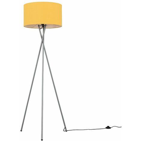 Camden Tripod Floor Lamp in Grey with Reni Shade + 6W LED GLS Bulb - Grey & Copper - Grey