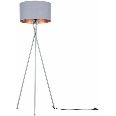 Camden Tripod Floor Lamp in Grey with Reni Shade - Grey & Chrome