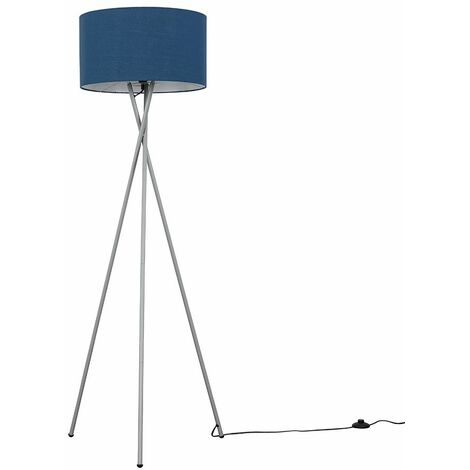Camden Tripod Floor Lamp in Grey with Reni Shade - Grey & Chrome - Grey