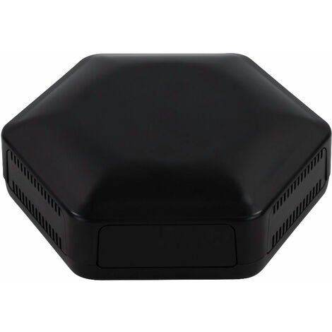CamdenBoss CBHEX1-24-BK Hex-Box IoT Enclosure 2 Solid Panels and 4 Vented Black