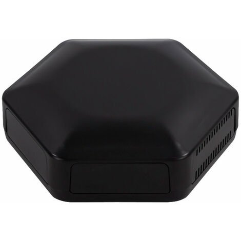 CamdenBoss CBHEX1-51-BK Hex-Box IoT Enclosure 5 Solid Panels and 1 Vented Black