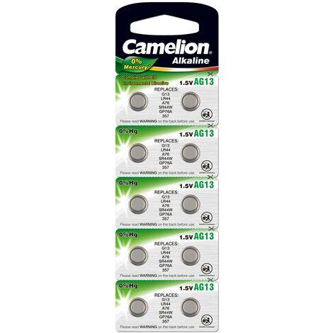 Camelion Piles alcalines boutons - AG 10 / LR54 - pack de 10