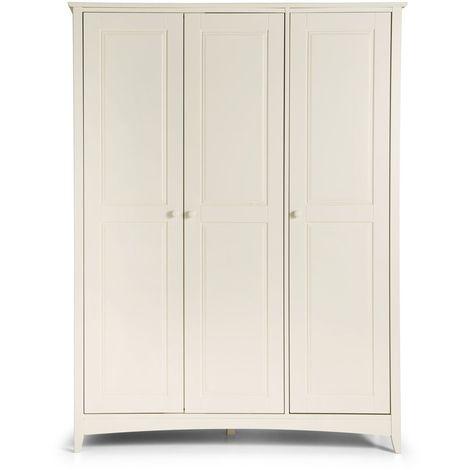 Cameo 3 Door Wardrobe With Internal Shelf Stone White Finish