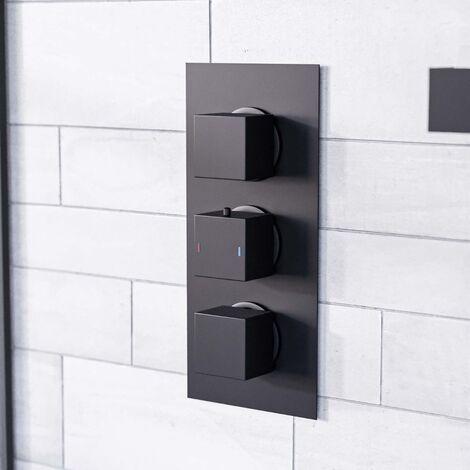 Cameo Square 3 Dial 2 Outlet Black Matt Concealed Thermostatic Shower Valve - Black Matt
