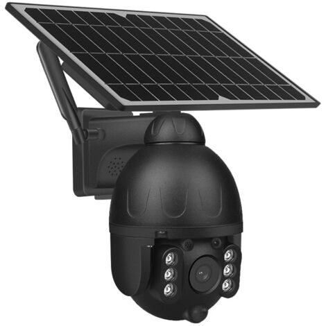 """main image of """"Caméra 4G sans fil extérieure solaire panneau PTZ 128G le noir"""""""