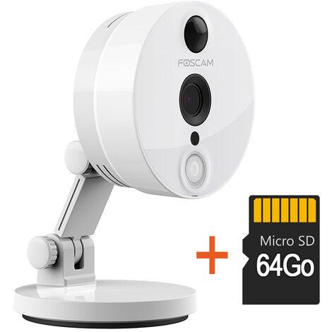 Camera compacte infrarouge 10m - 1080 P - Foscam C2 avec carte SD 64 Go - Blanche