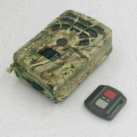 Caméra de chasse étanche extérieure à vision nocturne infrarouge 24Mp 1296P Wifi + télécommande, camouflage
