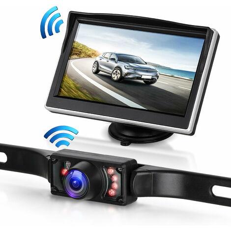 """Caméra de recul sans fil, système de surveillance de caméra de recul de 5 """"à vue arrière, 7 caméras de stationnement infrarouges à LED avec vision nocturne super"""