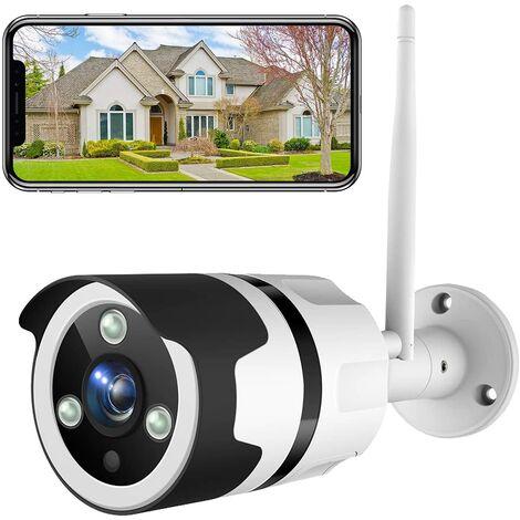 Caméra de Surveillance Extérieure 1080P FHD WiFi IP, IP66 Étanche à la Poussière, Caméra IP avec Vision Nocturne (Blanc)