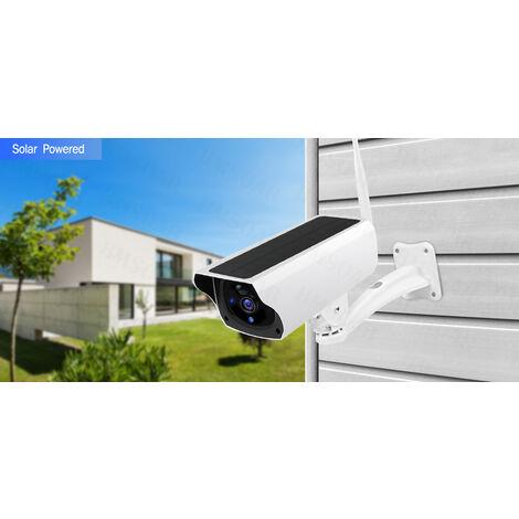 Caméra de surveillance extérieure solaire WiFi sans fil 1080P, avec panneau solaire et batterie Rechargeable, capteur PIR et alarme Audio bidirectionnel (Sans batterie)