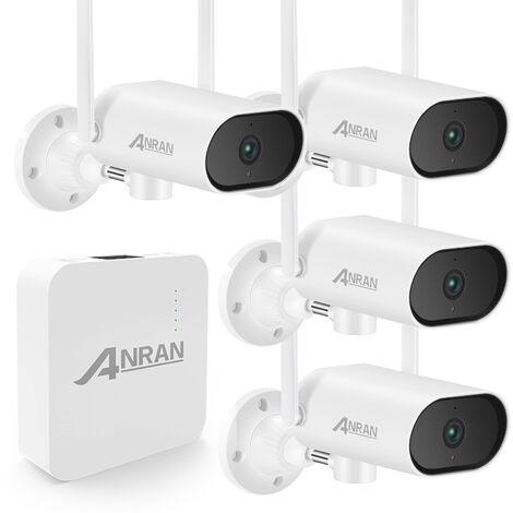 Camera De Surveillance Ip Hd Wifi 4 Canaux Nvr + 4Pcs 3.0Mp, Audio Unidirectionnel, Detection De Mouvement, Acces A Distance, Pas De Carte Memoire