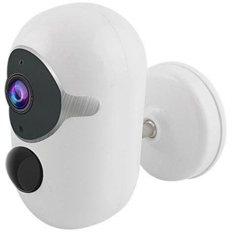 Caméra de surveillance solaire à énergie solaire étanche pour extérieur avec détecteur de mouvement, lampe solaire pour jardin garage - Blanc