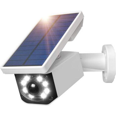 Caméra de surveillance solaire à énergie solaire IP66 étanche pour extérieur avec détecteur de mouvement, lampe solaire LED pour jardin garage