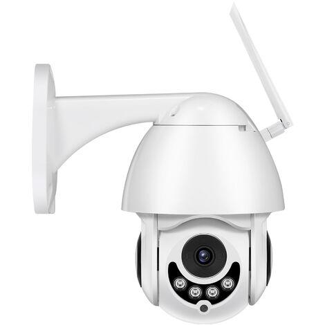 Camera de surveillance WiFi sans fil 1080P 2MP Objectif fixe 4mm IP66 Support etanche exterieur Vision nocturne infrarouge Detection de mouvement Vision a distance Voix bidirectionnelle