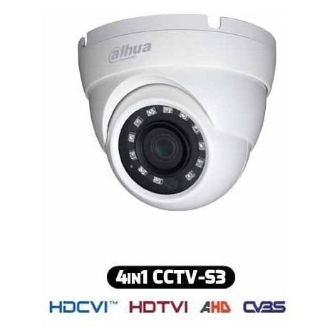 Caméra Dome ANTI-VANDALISME HDCVI Hybride 4IN1 1080p 2Mpx IP67 DAHUA HAC-HDW1220M-S3