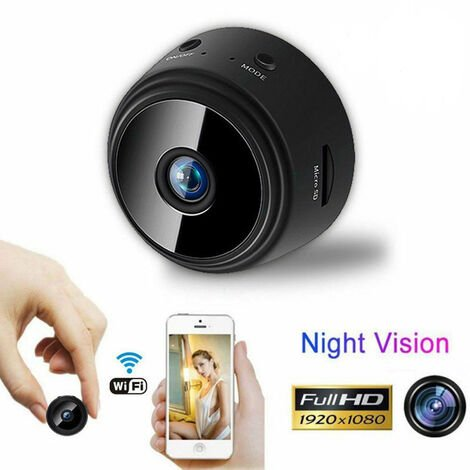 Camera Espion, HD 1080P Portable Mini Camera WiFi Surveillance de la Securite a la Maison, Detection de Mouvement, Vue a Distance