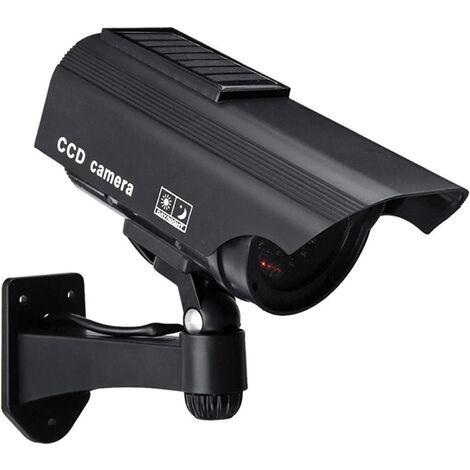 Caméra factice de sécurité CCTV simulée Solaire, Fausse caméra de Surveillance avec LED Infrarouge Flash LED Rouge pour Une Utilisation intérieure / extérieure (Noir)